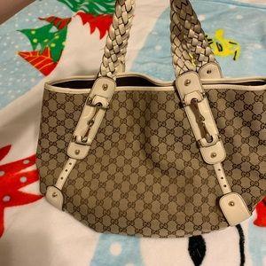 Gucci hobo purse bag monogram brown leather